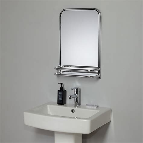 bathroom shelves with mirror buy lewis restoration bathroom wall mirror with shelf chrome at johnlewis
