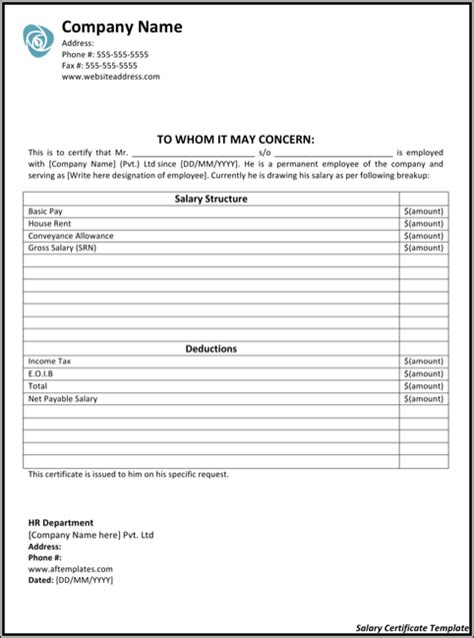 download salary certificate templates for free formtemplate