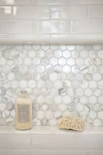 Bathroom Shower Niche Ideas combo marble hex and white subway for shower niche can use