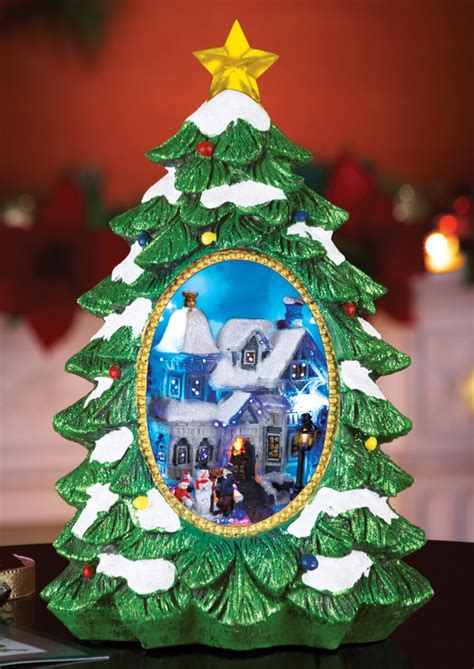 lighted christmas village tree tabletop decoration by
