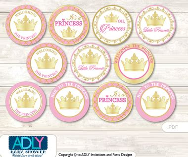free printable crown cupcake toppers baby shower pink princess cupcake toppers printable file