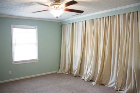 Covering A Wall With Curtains Ideas Blockbuster Drop Cloth Curtains Ideas For Bedrooms And Window Treatments