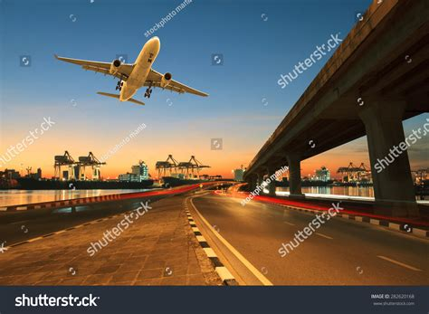 Port Road Car And Commercial by Road Land Bridge Run Into Ship Stock Photo 282620168