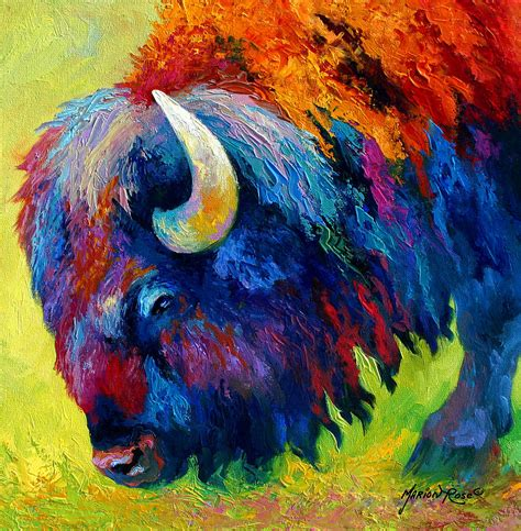 Bison Portrait Ii Painting By Marion Rose Animal Painting For
