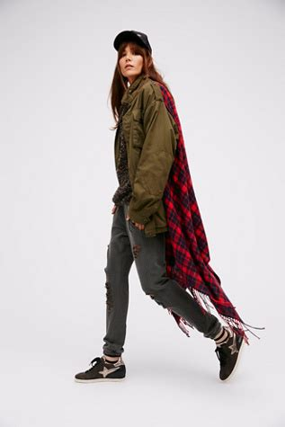 A00535 Maxi Army Pashmina peace out shawl jacket free