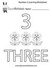 free printable number three learning worksheet for preschool