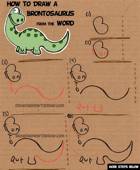 Drawing W Words by How To Draw A Brontosaurus From The Word