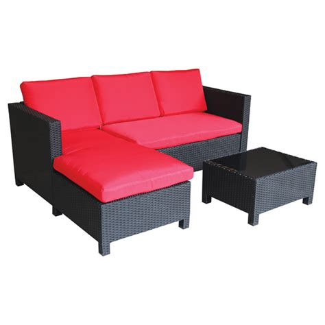 rona patio furniture patio sectional sofa set black 3 pieces rona