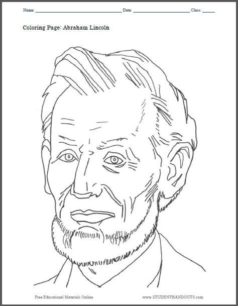 abraham lincoln coloring page student handouts