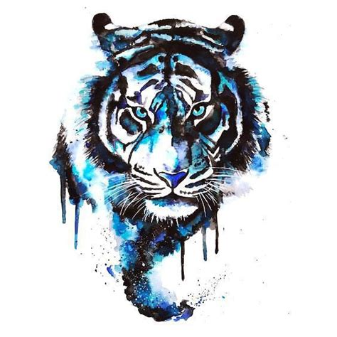 watercolor tiger tattoo blue watercolor tiger design