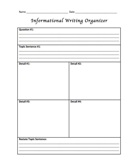printable graphic organizer for informational writing expository writing graphic organizers search results