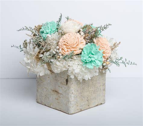 shabby chic centerpiece mint ivory sola flower centerpiece birch wedding