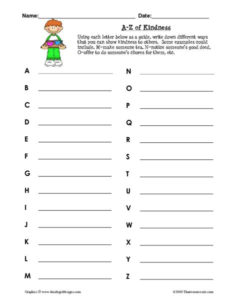 Kindness Worksheets by A Z Of Kindness Worksheet That Resource Site