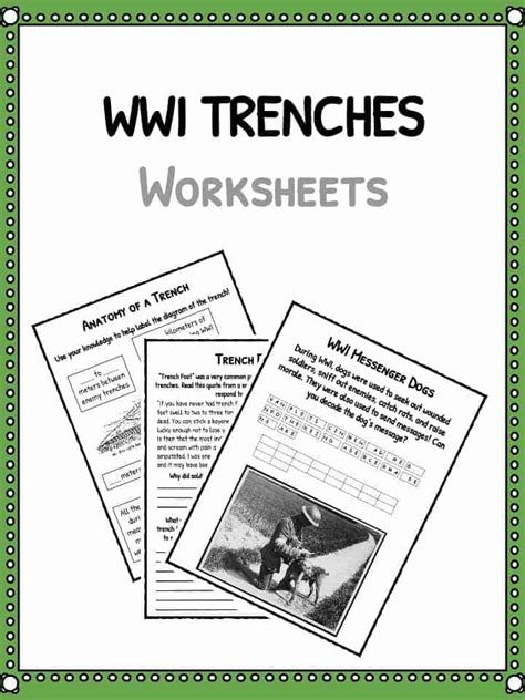 ww trenches facts  world war  trench warfare worksheets