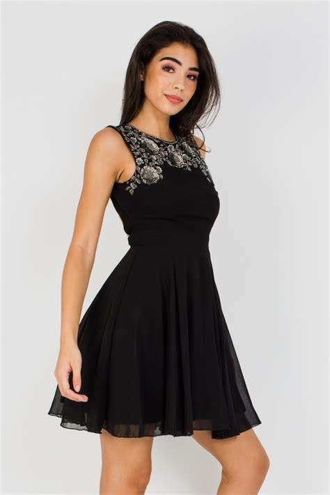 lace beads asha black mini dress party dresses