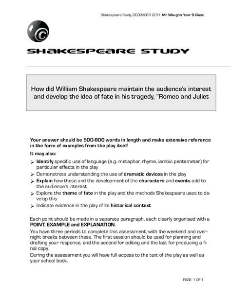 Shakespeare In Essay Questions by Shakespeare S Romeo And Juliet Essay Question