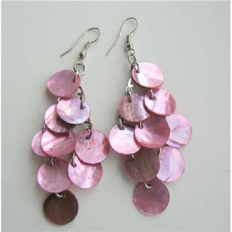 pink shell beautiful chandelier earrings mop shell dangle