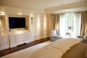 Traditional bedroom built in tv wall unit