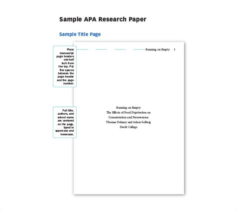 free templete for apa research paper