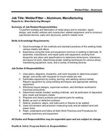Aluminum Welder Sle Resume by Welder Description 10 Free Word Pdf Documents Free Premium Templates