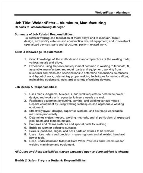 Structural Welder Description by Welder Helper Description Sle Team Leader Description 9 Exles In Word Pdf
