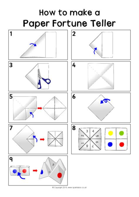 how to make a paper fortune teller sheet