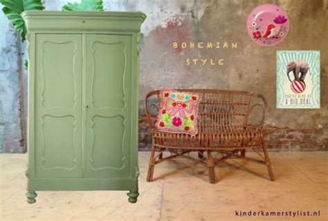 antiek groene gordijnen bohemian kinderkamer kinderkamerstylist