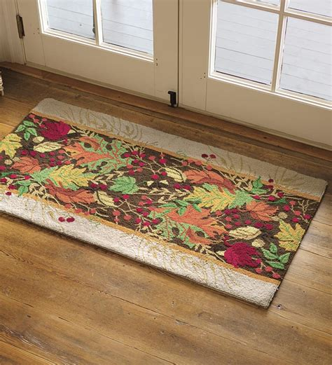wool accent rugs 2 x 4 autumn leaves hooked wool accent rug wool rugs