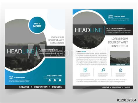 Circle Brochure Template by Blue Circle Vector Business Leaflet Brochure