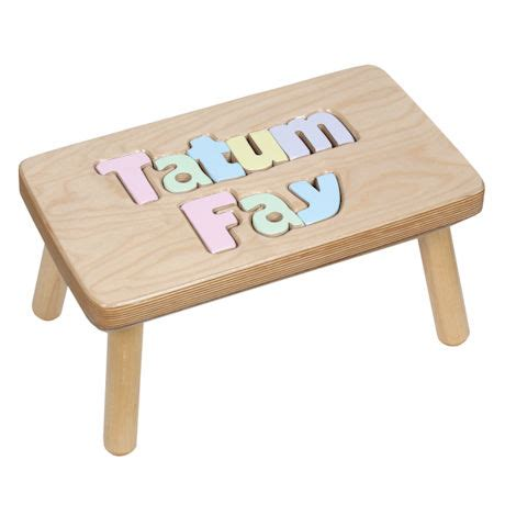Wooden Puzzle Step Stool by Personalized Children S Wooden Puzzle Step Stool 2 Names