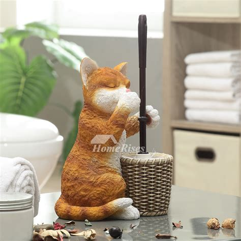 Cat Toilet Brush Holder Free Standing Resin Base Decorative