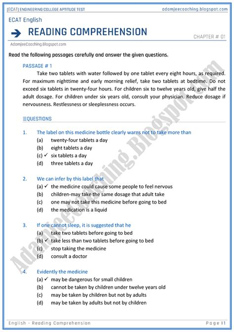 reading comprehension test university adamjee coaching ecat english reading comprehension