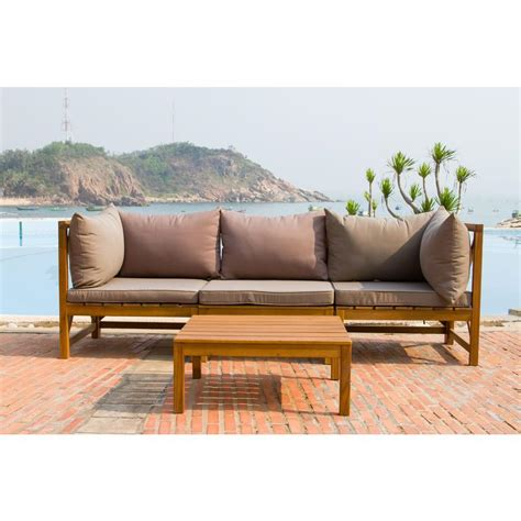 outdoor teak sectional safavieh lynwood modular teak brown outdoor patio