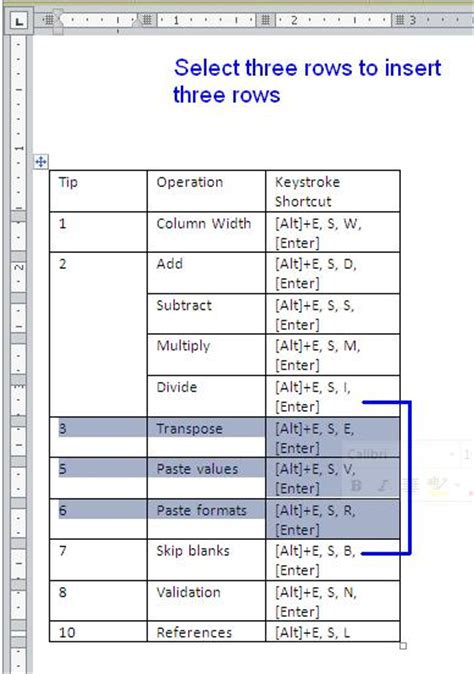 how to insert rows in a word table techrepublic