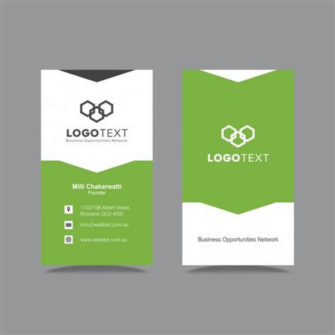 Green Business Card Template Vector by Green Business Card Vector Free