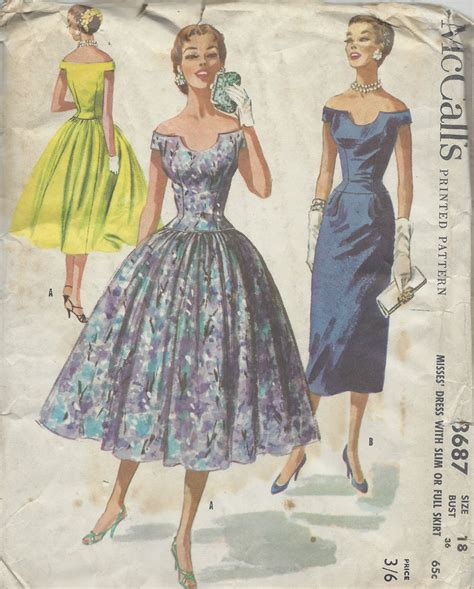 pattern for vintage dress 1956 vintage sewing pattern b36 dress r962 ebay