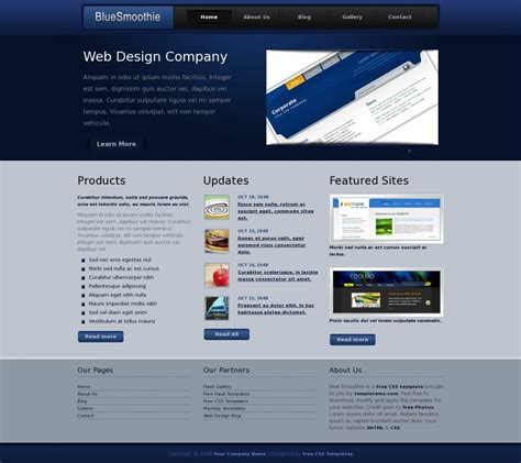 Blue Smoothie Web Template 187 All Free Web Themes Templates Smoothie Website Template