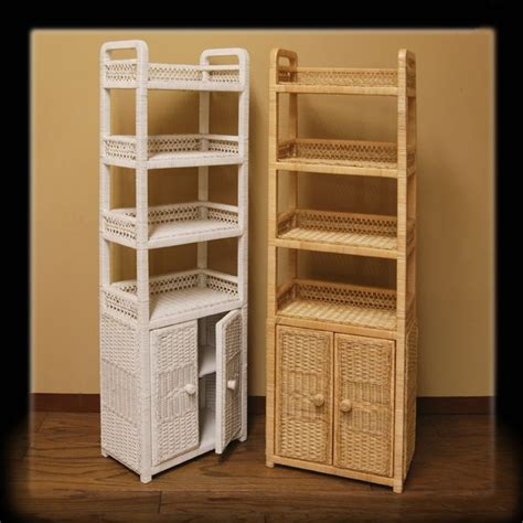 Bathroom Wicker Furniture 6 Tier Oblong Wicker Floor Shelf W Cabinet Below The Four Display Shelves On This Sturdy Oblong