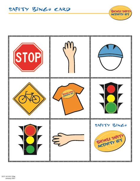 safety pin movement card template bike safety bingo card bike safety school