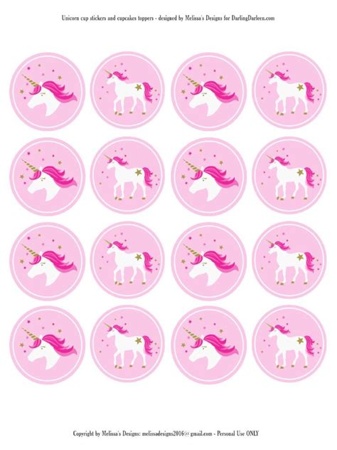 printable unicorn cake toppers unicorn stickers cupcake toppers party unicorn