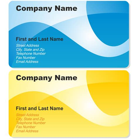 company card template vector for free use blue and yellow business cards