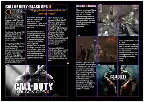 design magazine games gaming magazine double page spread black ops ii game review