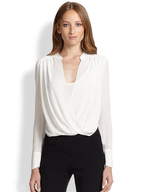 draped blouse bcbgmaxazria jaklyn draped front blouse in white lyst