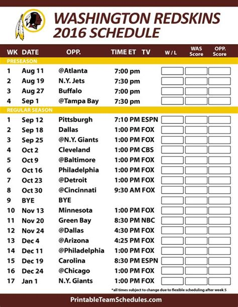 printable 2016 washington redskins schedule draft news