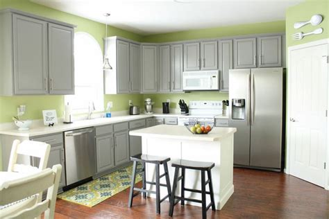 Gray Green Kitchen Cabinets Grey Cabinets Green Walls Kitchen