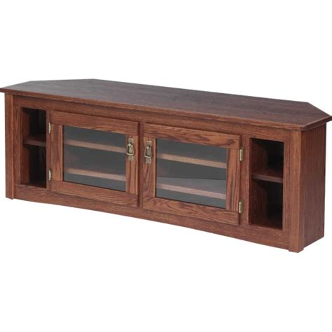 solid oak mission style corner tv stand 60 quot the oak