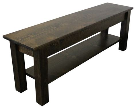 rustic indoor bench yukon bench with shlef rustic indoor benches by