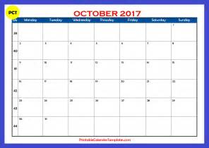 Calendar Of October October 2017 Calendar Australia Printable Template With