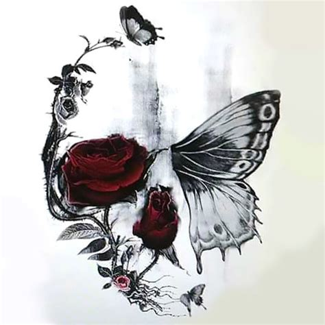 tattoos roses and butterflies skull butterfly and design