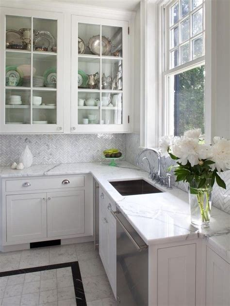 herringbone marble tile backsplash kitchens pinterest
